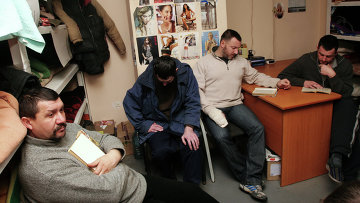 Украинские военнопленные в месте временного содержания в Донецке. Архивное фото