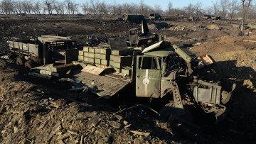 Разрушенный укрепрайон украинских силовиков на окраине города Дебальцево. Архивное фото