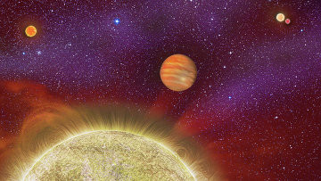 Так художник представил себе звезду 30 Ari B (внизу), вращающийся вокруг нее горячий Юпитер (в центре), пару светил 30 Ari A (справа сверху), и новую звезду 30 Ari (слева вверху)