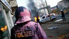 Полиция во время беспорядков анти-капиталистического движения Blockupy на улицах Франкфурта-на-Майне