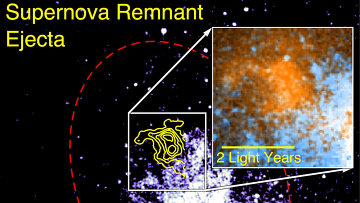 Оранжевым цветом на фотографии отмечены скопления пыли в останках сверхновой