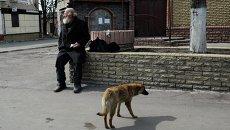 Мужчина на одной из улиц в Дебальцево Донецкой области. Архивное фото