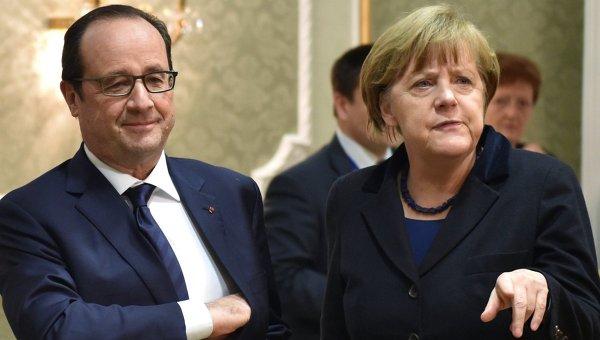 Президент Франции Франсуа Олланд и канцлер Германии Ангела Меркель. Архивное фото