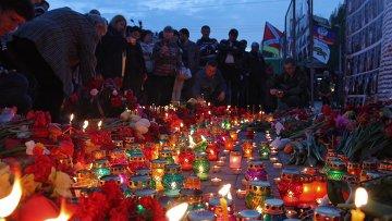 Акция памяти погибших в Одессе 2 мая 2014 года состоялась в Донецке. Архивное фото