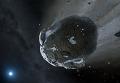 """Рисунок астероида, """"пережевываемого"""" белым карликом"""