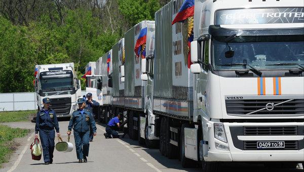 Подготовка гуманитарного конвоя в Ростовской области для юго-востока Украины. Архивное фото