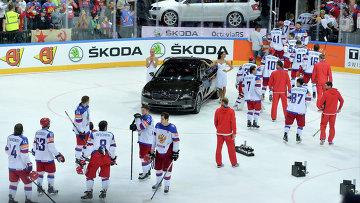 Игроки сборной России после поражения в финальном матче чемпионата мира по хоккею 2015 между сборными командами Канады и России