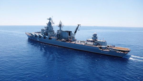 Гвардейский ракетный крейсер Москва. Архивное фото