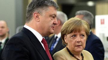 Президент Украины Петр Порошенко и канцлер Германии Ангела Меркель. Архивное фото