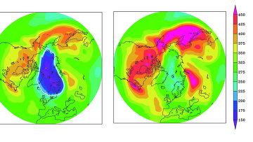 Фиолетовое пятно на картинке слева – озоновая дыра над северным полюсом, существовавшая бы над ним в 2013 году, если бы не был принят Монреальский протокол 1987 года