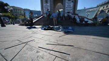 Палаточный лагерь в центре Киева снесен