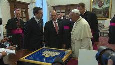 Путин подарил папе римскому панно с изображением храма Христа Спасителя