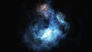 Так художник представил себе галактику CR7, один из древнейших звездных мегаполисов Вселенной