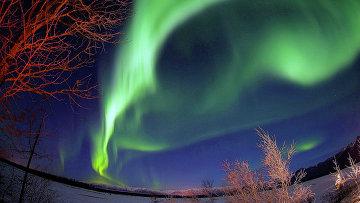 Северное сияние на Аляске