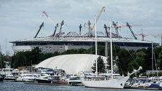 Строительство стадиона Зенит-Арена на Крестовском острове. Архивное фото.