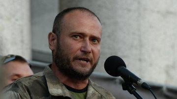 Лидер организации Правый сектор Дмитрий Ярош выступает на Народном вече в Киеве. 21 июля 2015