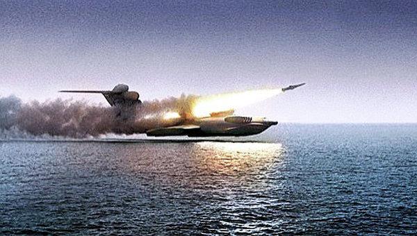 Пуск ракеты Москит c экраноплана Лунь во время испытаний. Архивное фото