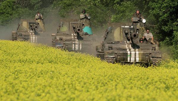 Самоходные гаубицы украинской армии возле Донецка