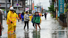 Последствия циклона Кило в городе Ояма, Япония. Архивное фото