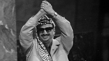 Ясир Арафат во время выступления в ООН