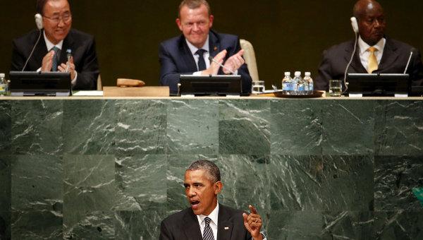 Президент США Барак Обама во время выступления на Генассамблее ООН. 27 сентября 2015