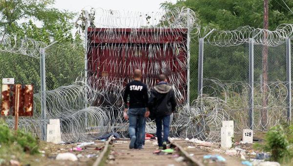 Беженцы из стран Ближнего Востока на сербско-венгерской границе. Архивное фото
