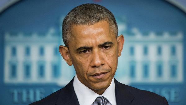 Президент США Барак Обама во  время выступления в Белом доме, Вашингтон