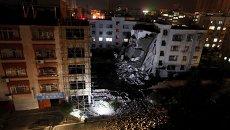 Пострадавшее от взрыва жилое здание в уезде Лючэн в Гуанси-Чжуанском автономном районе на юге Китая. 30 сентября 2015