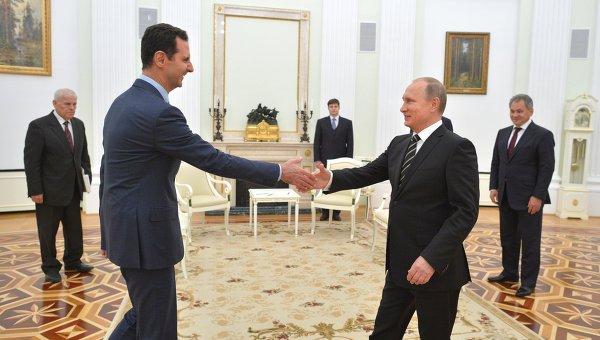 Президент России Владимир Путин и президент Сирии Башар Асад. Архивное фото