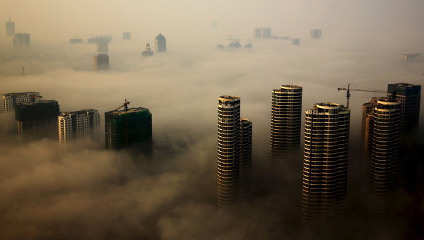 Туман над Рижао, Китай