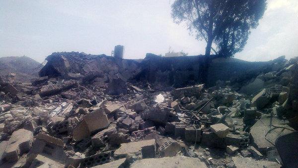 Последствия авиаудара по госпиталю в провинции Саада, Йемен. Архивное фото.