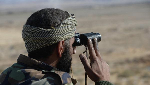 Солдат 18 дивизии 3 корпуса Сирийской Арабской Армии (САА) наблюдает за боевыми позициями боевиков в 20 километрах от города Пальмира. Архивное фото