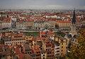 Вид на город Лион с холма Фурвьер