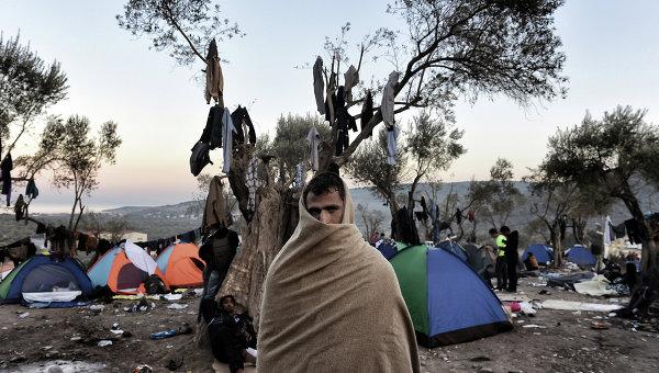 Мигрант на острове Лесбос, Греция