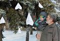Бумажные самолетики на дереве рядом с памятником авиаторам в центре Липецка, в память о подполковнике липецкого авиацентра ВВС России Олеге Пешкове