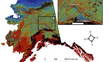 Карта вечной мерзлоты (красный – 0% площади, синий – 100% площади) на Аляске в 2100 году