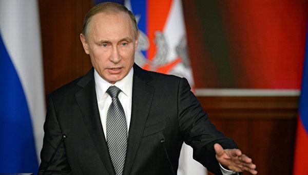 Президент России Владимир Путин выступает на расширенном заседании коллегии Министерства обороны РФ