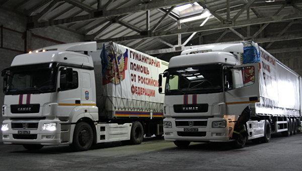 Автомобили гуманитарного конвоя МЧС РФ. Архивное фото