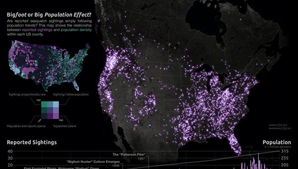 Карта ареала обитания снежных людей в США, подготовленная математиком