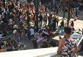 Беженцы на вокзале Келети (Будапешт)