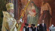 Премьер-министр РФ Д. Медведев посетил Рождественское богослужение в храме Христа Спасителя