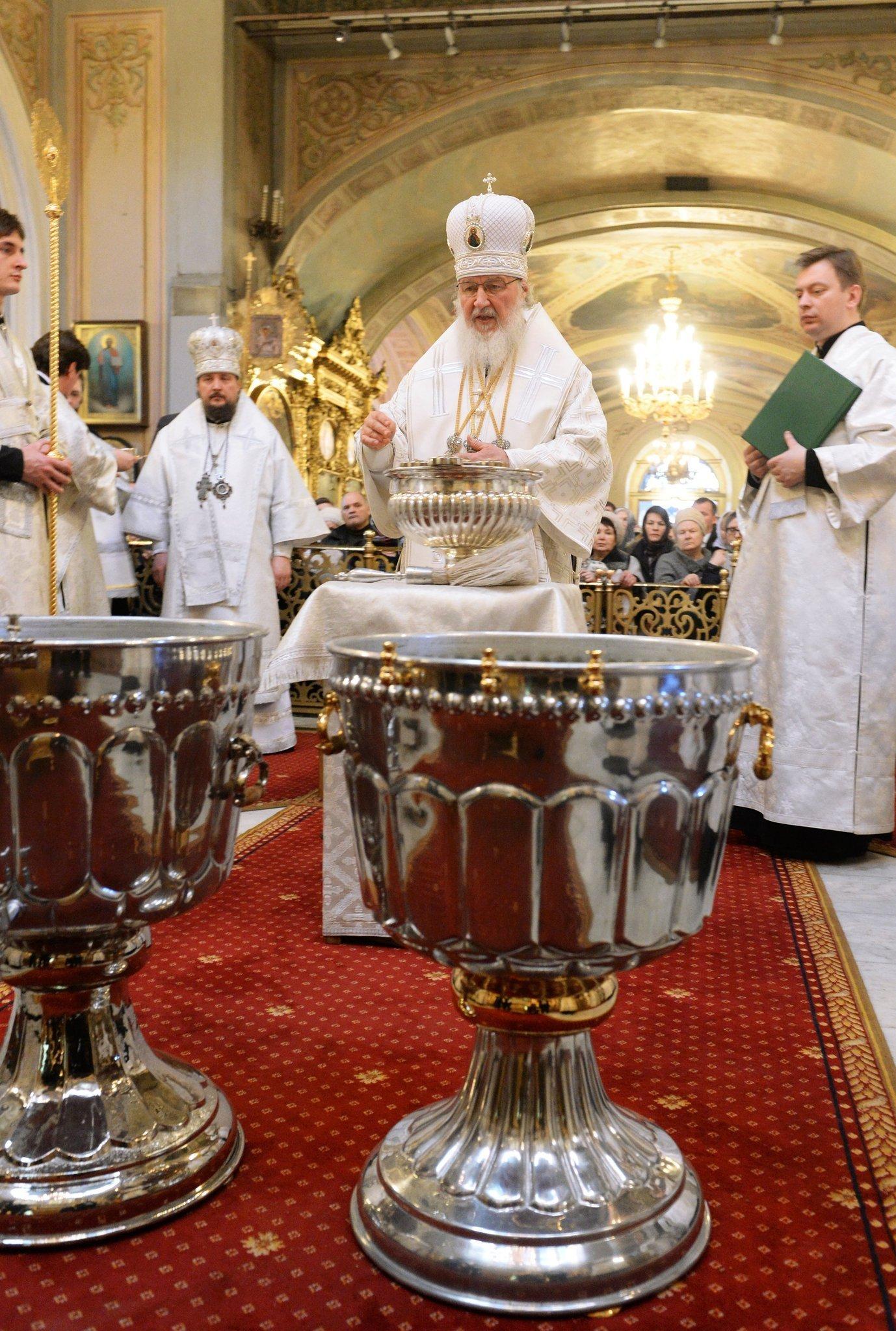 Патриаршее служение в праздник Богоявления в Богоявленском кафедральном соборе