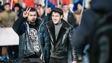 Протестующие на одной из улиц Кишинева