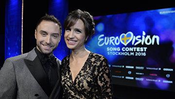 Монс Зелмерлев и Петра Меде, ведущие Евровидения 2016 в Стокгольме. Архивное фото