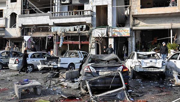 На месте двойного теракта в Хомсе. Архивное фото