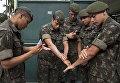 Военнослужащие обрабатывают руки репеллентом перед операцией по борьбе с комарами, переносящими вирус Зика, в Сан-Паулу, Бразилия