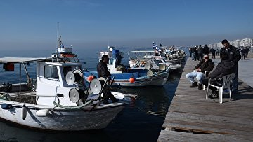Протестующие рыбаки в Салониках, Греция. 28 января 2016