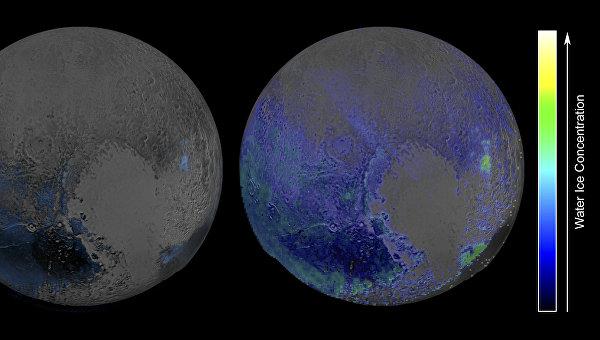 Залежи льда на Плутоне, снимок с зонда New Horizons