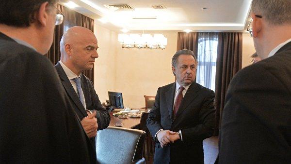 Министр спорта РФ Виталий Мутко и генеральный секретарь УЕФА, кандидат в президенты ФИФА Джанни Инфантино на встрече в Москве