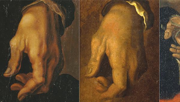 Левая рука Микеланджело на портретах в разные годы жизни